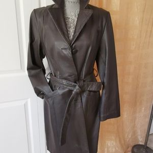 Vintage leather trench coat very dark brown